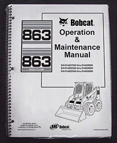 amazon com bobcat 863 skid steer operator s owners operation rh amazon com Bobcat Repair Manual Bobcat 863 Specs