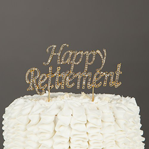 Happy Retirement Cake Topper Party Supplies Retire Gift Decoration Ideas (Gold)