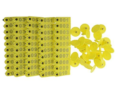 WGCD 200pcs Yellow 1-100 Number Plastic Livestock Ear Tag...