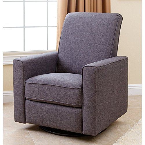Abbyson Hampton Nursery Swivel Glider Recliner Chair, Gray