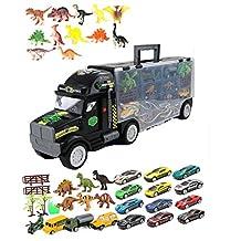Portador de juguetes para camiones gigantes con dinosaurio transportador con autos y dinosaurios, portador de camiones y camiones de gran juguete: el regalo perfecto para un niño de 3 a 8 años de eda