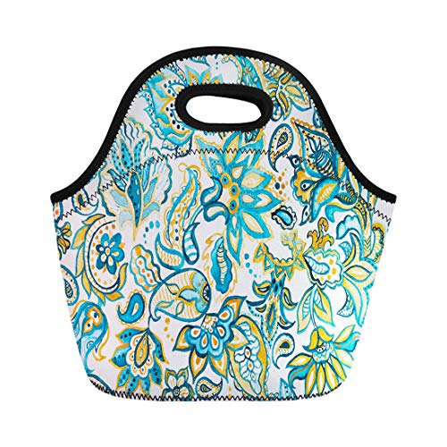 Semtomn Lunch Tote Bag Pretty Vintage Feedsack Pattern in Flowers Paisley Millefleurs Floral Reusable Neoprene Insulated Thermal Outdoor Picnic Lunchbox for Men Women