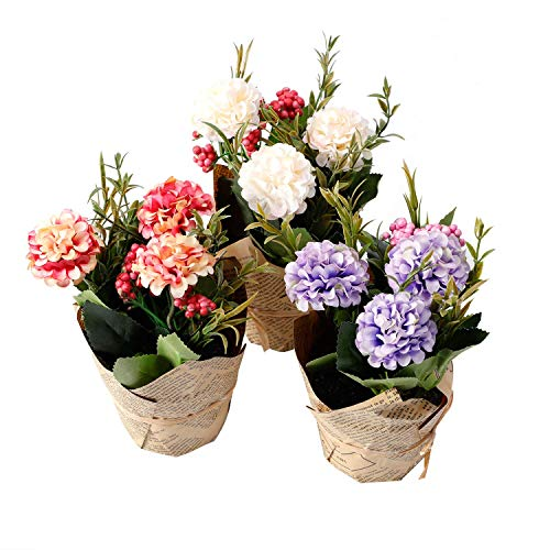 The Bloom Times Small Artificial Potted Hydrangea Plant Silk Flower Floral Arrangements Fake Flowers Decoration for Home Office Table Wedding Indoor Set of 3 (Silk Plant Centerpiece)