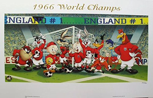 Artwork by Looney Tunes 1966 World Soccer Champs Limited Edition Lithograph Print. After the Original Painting or Drawing. Measures 18 X 32
