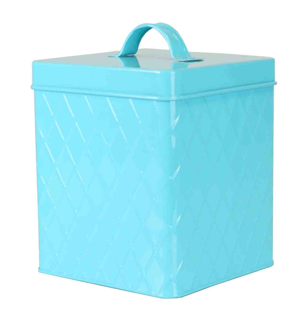 Home Basics CS47383 Large, Turquoise Tin Canister, One Size,