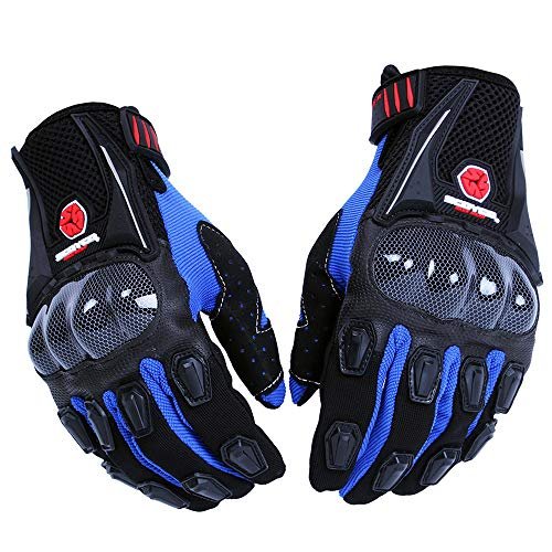 SCOYCO Men's Gloves Black,with Microfiber Hard Knuckle,Waterproof,Breathable, Powersports,Motorbike,Scooter,Motorcycle Glove.(BLUE,L)