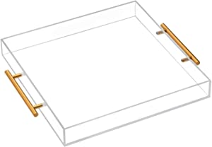 Clear Acrylic Tray with Metal Handle-Acrylic Tray for Ottoman,Coffee Table, Breakfast, Tea, Food, Butler - Decorative Tray (15x15 Inch, Clear)