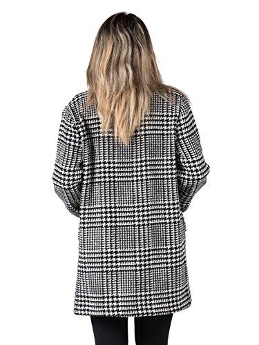 Einreihiger Mantel, quadratisch gemustert mit Hahnentritt, mit Taschen. Schwarz/weiss