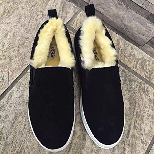 Ayudar XIE Perezosos de de Botas del de Las Invierno Cuero Zapatos Lana para Planas Baja Nieve 160cm Botas 90 de Mujeres qtrtw5C