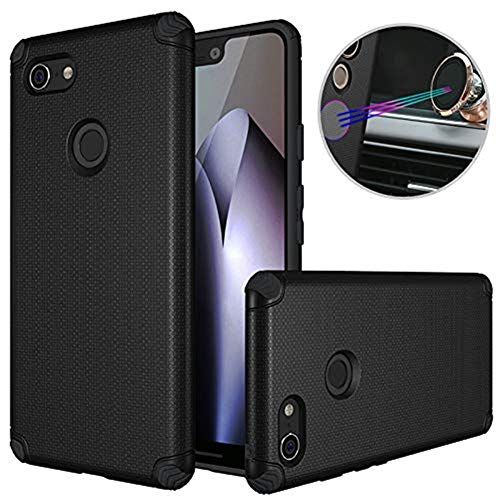 Dretal Google Pixel 3 XL Case, Google Pixel 3 XL Car Case, Shock-Absorption Armor Anti-Slip Texture Protective Case Cover with Embedded Metal Plate for Magnetic Car Mounts (Black)