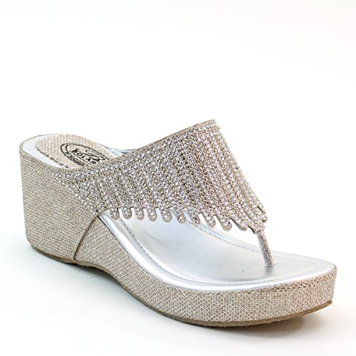 New Brieten Womens Studded Thong Flip-flop Wedge Platform Comfort Slide Sandals Champagne