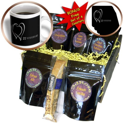 Beverly Turner Anniversary Design - Two Silver Hearts 25th Anniversary - Coffee Gift Baskets - Coffee Gift Basket (cgb_29618_1)