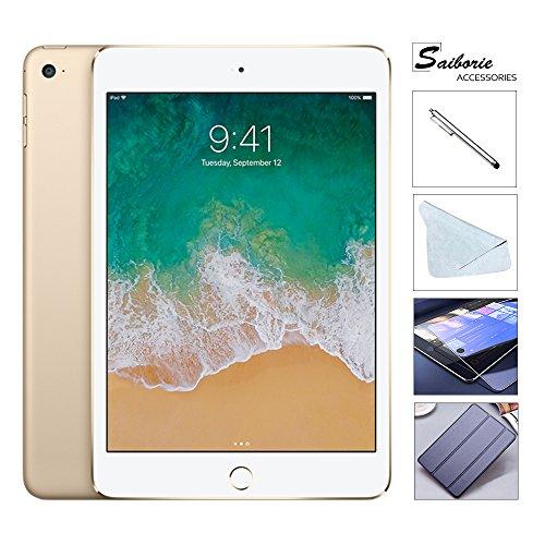 "Apple iPad Mini 4 128GB W/Saiborie $49.99 Value Accessories, 7.9"" Retina Display, 2GB RAM, Dual-Core A8 Chip, Quad-Core Graphics, Wi-Fi, MIMO, Bluetooth, Apple iOS 9 (Gold)"