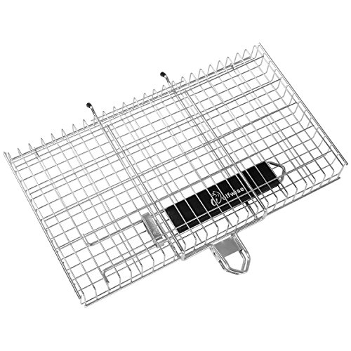 WolfWise Large Grilling Basket 430 Stainless Steel Removable Wooden Handle BBQ Tool Cooking Fish Vegetable Meat ()