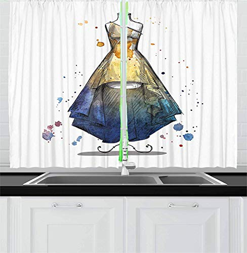 (Lunarable Fashion Kitchen Curtains, Sketchy Watercolor Mannequin with Prom Dress IllustrationBlackout Window Curtains and Drapes 2 Panel Set, 52