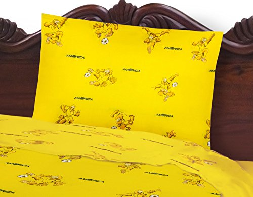 (Club America Soccer Team Luxury Twin Sheet 3 piece Set featuring Playing Eagle Mascot)