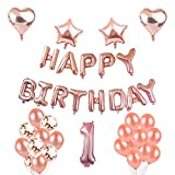 "Toupons Baby Shower Decorations, First Birthday Party Decorations For Girl Hen Party Decoration ""HAPPY BIRTHDAY"" Garland Bunting Banner Balloons Oh Baby Shower Decorations Rose Gold (1st)"