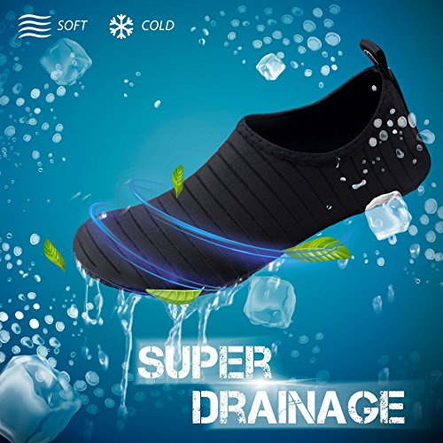 SIMARI Unisex Water Sports Shoes Barefoot Slip-on Indoor Outdoor Sports Activities SWS001 Stripe Black 9.5-10.5