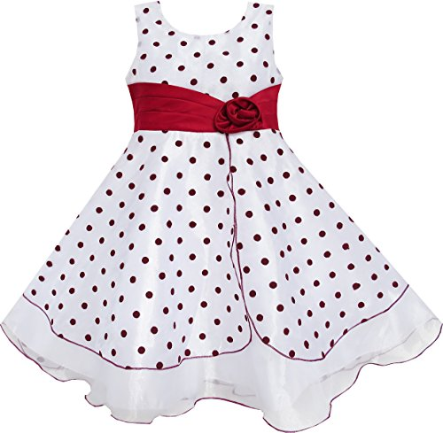 Sunny Fashion Big Girls' Dress Wine Red Dot Tulle Pageant Unique Design 7-8 - Dot Tulle Dress