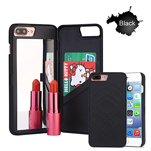 iPhone 7 Plus Case,iPhone 8 Plus Case, [3D Mirror Series] Cards Holder Kickstand Wallet Style Flip Back Cover Protective Case for iPhone 7/8 Plus 5.5 Inch (Black)