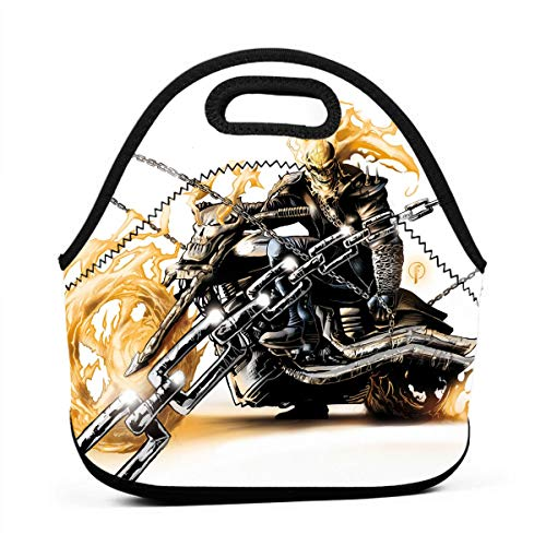 LKJDAD Ghost Rider Lunch Bag, Thick Insulated Lunchbox Bags,Tote Box with Zipper Closure for Kid Travel Picnic Office