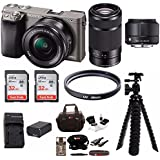 Sony Alpha a6000 Mirrorless Camera (Graphite) w/ Sigma 19mm f/2.8 & Sony 55-210mm Lenses & 64GB Bundle