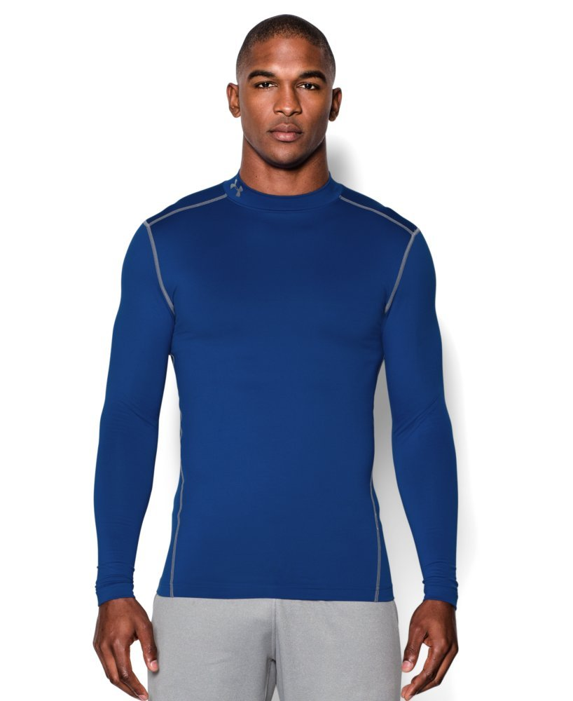 Under Armour Men's ColdGear Armour Compression Mock Long Sleeve Shirt, Royal /Steel, X-Small