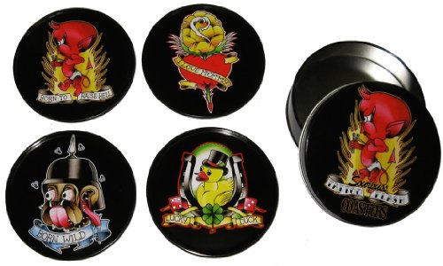 Tattoo Flash Cartoon Coasters from Sourpuss Clothing (Set of 4 in Metal Tin) ()