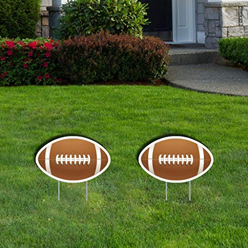 VictoryStore Yard Sign Outdoor Lawn Decorations - Custom Accessories Outdoor Signs, Football, 2 Stakes Included Per Sign, Set of 2