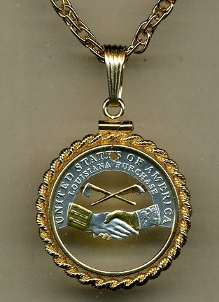 Jefferson Nickel Peace Medal - Jefferson Nickel Peace Medal (2004) Two Tone Coin Cut Out Pendant with 18