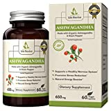 Organic Ashwagandha – 650mg Natural Herbal Dietary Supplement for Healthy Nervous System, Stress Reduction and Energy (60 Capsules, 30 Day Supply)