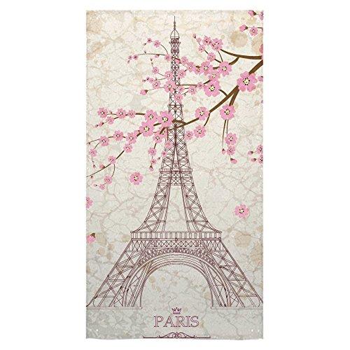 Crystal Emotion Paris Eiffel Tower French Style Parisian Cherry Blossom Pink Flower Beach Bath Towels Bathroom Body Shower Towel Bath Wrap For Home Outdoor and Travel (Crystal Paris Eiffel Tower)