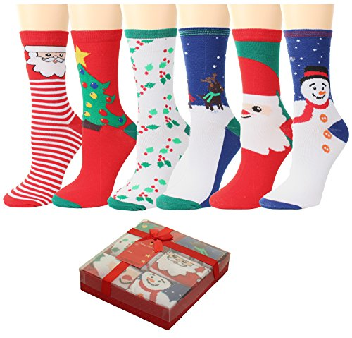 GILBIN'S Women Christmas Holiday Design Crew Casual Socks 6 Pairs, Gift Box Packaged With Gift Card (Size 9-11) ()