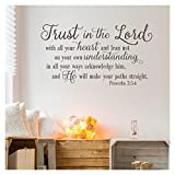 Trust in the Lord With All Your Heart..Proverbs 3:5-6 Vinyl Lettering Wall Decal Sticker (21''H x 38''L, Metallic Bronze)