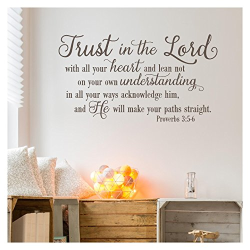 Trust in the Lord With All Your Heart..Proverbs 3:5-6 Vinyl Lettering Wall Decal Sticker (21''H x 38''L, Metallic Bronze) by Wall Sayings Vinyl Lettering