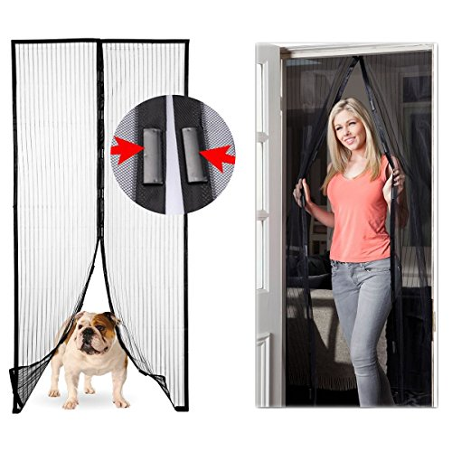 Magic Mesh 2 Pack Set of Magnetic Instant Hands-Free Screen Doors For Home Pets Bugs 83 Inch x 39 Inch