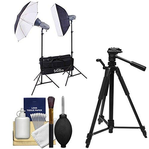 (RPS Studio RS-SR300DK 600 Watt/Second Portable 2-Monolite Lighting Kit with Tripod + Cleaning Kit)