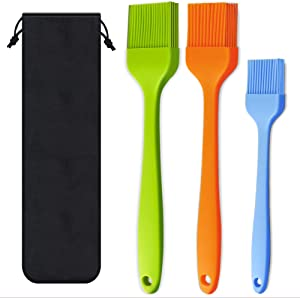Basting Brush Silicone Heat Resistant Pastry Brushes Spread Oil Butter Sauce Marinades for BBQ Grill Barbecue Baking Kitchen Cooking, Baste Pastries Cakes Meat Desserts, Dishwasher safe, Set of 3
