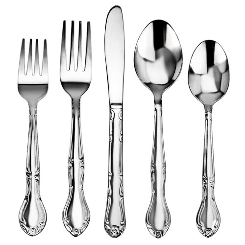 Stainless Steel Flatware Patterns - New Star Foodservice 58857 Rose Pattern, Stainless Steel,  60-Piece Flatware Set