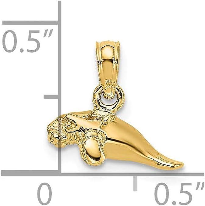 10mm x 15mm Million Charms 14k Yellow Gold Small//Mini Elephant Charm Pendant