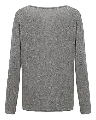 Casual ZIOOER T Shirt Lache Pulls Automne Top Blouse Gris Chemise Pull Manches Vrac Longues Femme Coton Shirt CBBqxp
