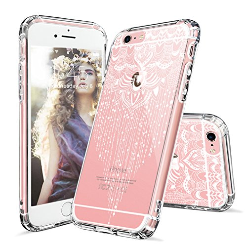 Clear Tassel (iPhone 6s Plus Case, iPhone 6 Plus Case Clear, MOSNOVO White Henna Mandala Floral Tassel Pattern Clear Design Transparent Plastic with TPU Bumper Protective Cover for Apple iPhone 6 6s Plus (5.5 Inch))