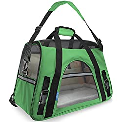 "Paws & Pals Airline Approved Pet Carriers w/ Fleece Bed For Dog & Cat - Soft Sided Kennel - 2018 Newly Designed, Large 19""x10""x13"" Inches"