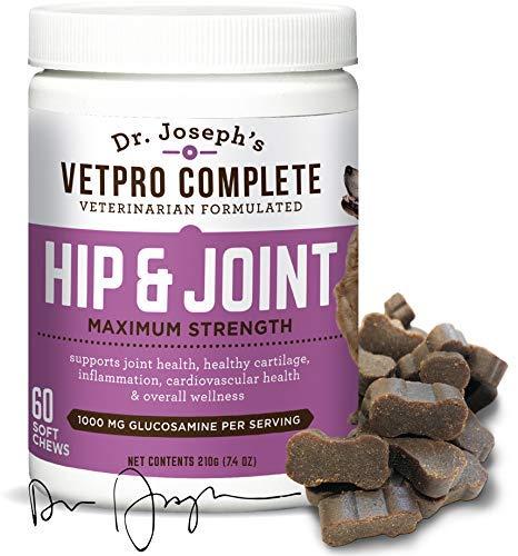 VetPro Complete Glucosamine for Dogs - Maximum Strength Soft Chews with Chondroitin, MSM, Turmeric, Vitamin C, Omega 3 - Treats Hip Dysplasia, Arthritis, Pain - 60 Chicken Flavored Treats