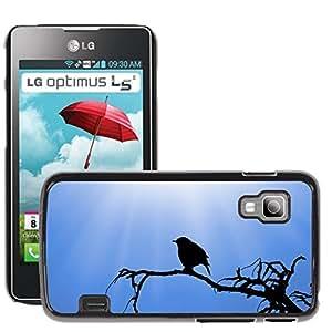 Super Stella Slim PC Hard Case Cover Skin Armor Shell Protection // M00149599 Bird Sparrow Vector Icon Sketch // LG Optimus L5 II Dual E455 / E460