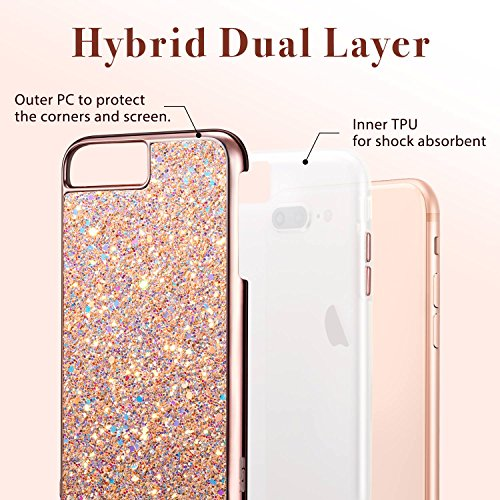 iPhone 8 Plus Case, iPhone 7 Plus Case, ESR Glitter Bling Hard Cover with Dual Layer Structure [Hard PC Back Outer + Soft TPU Inner] for Apple 5.5