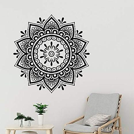 Tatuajes de pared Boho Mandala Patrón de flores Etiqueta de la pared Estudio de yoga Dormitorio Floral Arte Mural Bohemio Extraíble Decoración del hogar Sala de estar