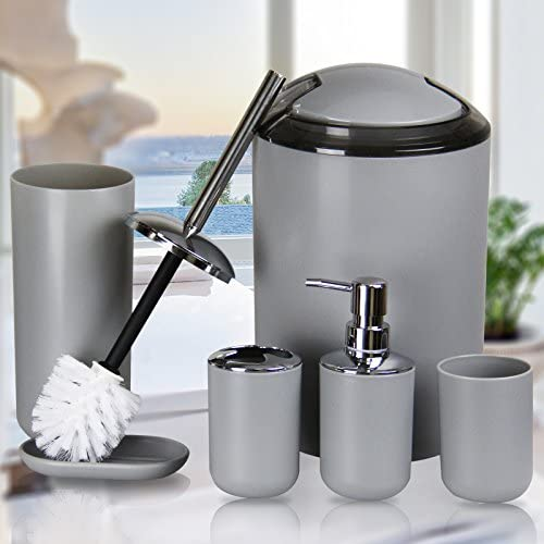 IMAVO Bathroom Accessories Set,6 Pcs Plastic Gift Set Toothbrush Holder,Toothbrush Cup,Soap Dispenser,Soap Dish,Toilet Brush Holder,Trash Can,Tumbler Straw Set Bathroom (Grey) 51fcnWEM0iL