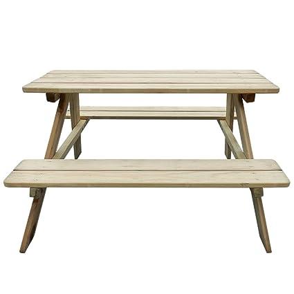 mewmewcat Table de Pique-Nique en Bois Table Banc Meuble ...
