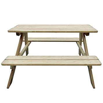 mewmewcat Table de Pique-Nique en Bois Table Banc Meuble Jardin pour ...